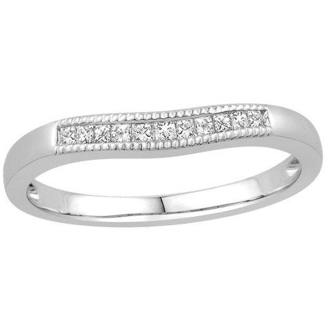 0.15 ct. t.w. 14K White Gold Contour Band with Princess Cut Diamonds with a Milgrain Finish (H-I, I1)