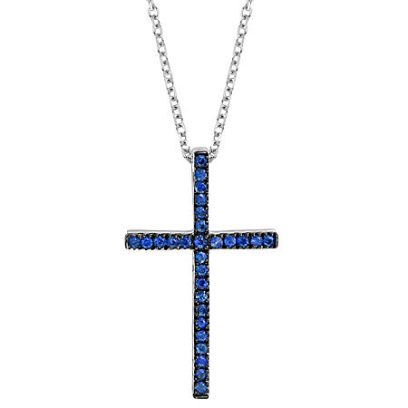Blue Sapphire Cross Pendant in 14K White Gold