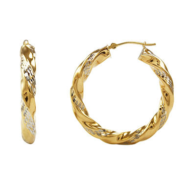 Love, Earth 4 x 35mm Diamond Cut, Twist Hoop Earrings in Sterling Silver and 14K Yellow Gold