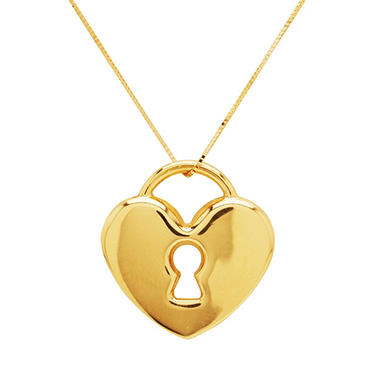 Heart Lock Pendant on 18