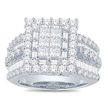 3.0 CT. T.W. Princess, Round and Baguette Diamond Ring in 14K White Gold (I, I1)
