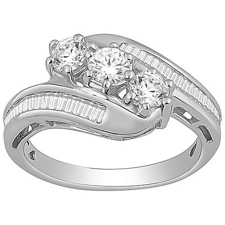 1.0 ct. t.w. Round and Baguette Diamond Ring in 14K White Gold (IGI Appraisal Value: $1,525)
