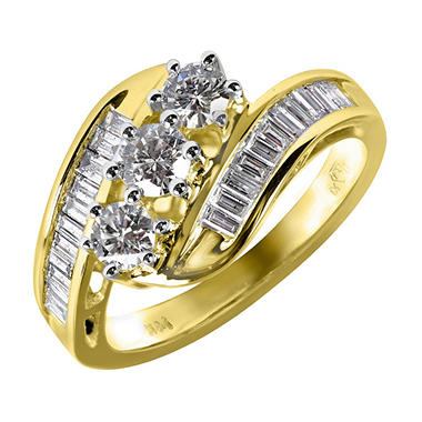 1.0 ct. t.w. Round and Baguette Diamond Ring in 14K Yellow Gold