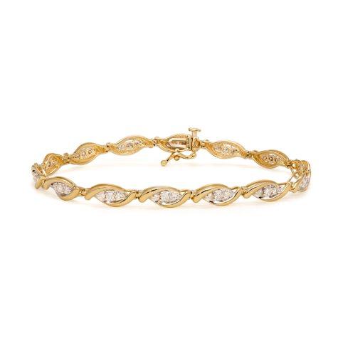 1.00 CT. T.W. Marquise-Shaped 3-Stone Design Diamond Tennis Bracelet in 14K Yellow Gold (I, I1)