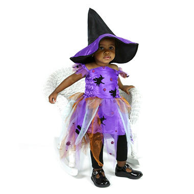 Children's Halloween/Dress-Up Colorful Witch Costume with Matching Hat - Ages 4-5