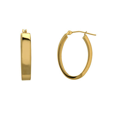 Oval-Shaped Hoop Earrings in 14K Yellow Gold
