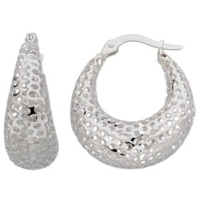 U-Shaped Hoop Earrings in 14K White Gold