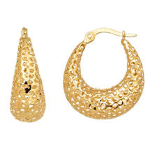 U-Shaped Hoop Earrings in 14K Yellow Gold