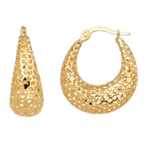 U-Shaped Hoop Earrings in 14K Yellow Gold