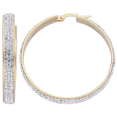 Love, Earth Genuine Swarovski Crystal Large Hoop Earring in Sterling Silver Bonded With 14K Yellow Gold