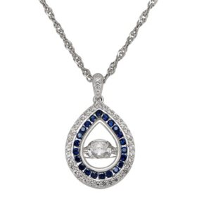 """Dancing Stone Lab White and Blue Sapphire 18"""" Pendant in Sterling Silver"""