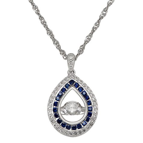 "Dancing Stone Lab White and Blue Sapphire 18"" Pendant in Sterling Silver"