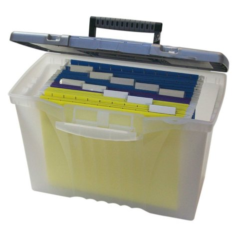 Storex Portable File Box with Organizer Lid, Legal/Letter, Clear/Silver