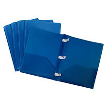 Storex Thicker Poly Two-Pocket Folder, Blue, 5 ct.