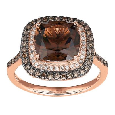 9 mm Smoky Quartz and 34 ct tw Diamond Ring in 14K Rose Gold
