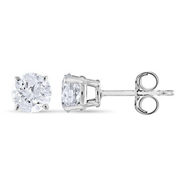 .96 CT. T.W. Round Diamond Stud Earrings in 14K White Gold (H-I, SI2)