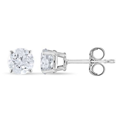 0.96 CT. T.W. Round Diamond Stud Earrings in 14K White Gold (H-I, SI2)