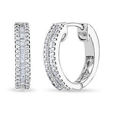 .46 ct. t.w. Diamond Baguette Hoop Earrings