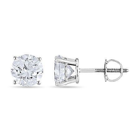 1.45 CT. T.W. Round Diamond Stud Earrings in 14K Gold (I, I1)