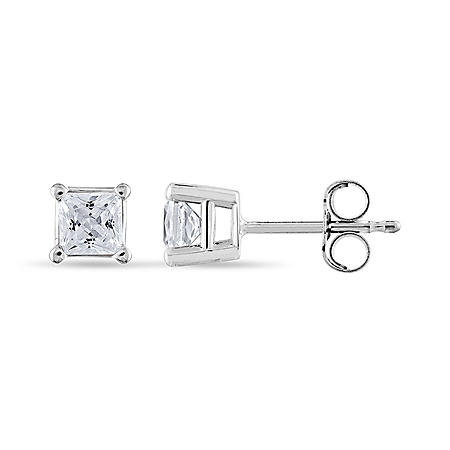 0.72 CT. T.W. Princess-Cut Diamond Stud Earrings in 14K White Gold (I, I1)