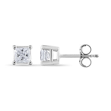 T W Princess Cut Diamond Stud Earrings In 14k White Gold I
