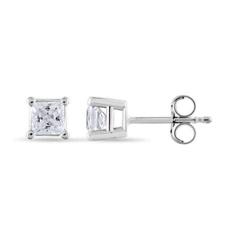 0.72 CT. T.W. Princess-Cut Diamond Stud Earrings in 14K White Gold (I, I1)