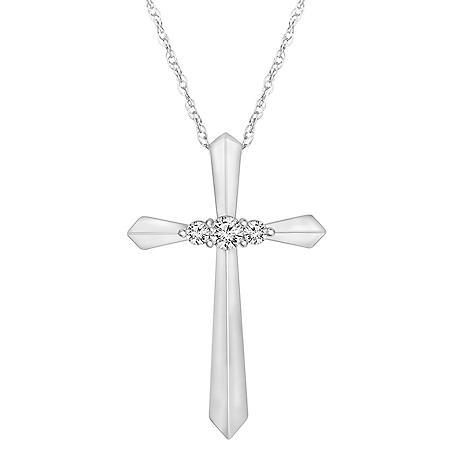 .13 ct. t.w. Diamond Cross Pendant 14k White Gold