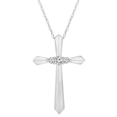 .13 ct. t.w. Diamond Cross Pendant 14k White Gold