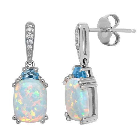 9/7 mm Opal with Blue Topaz and Diamond Accent Earrings in Sterling Silver