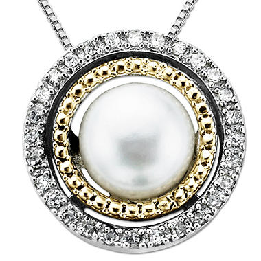 Freshwater Pearl and Diamond Accent Birthstone Pendant  in Sterling Silver and 14K Yellow Gold