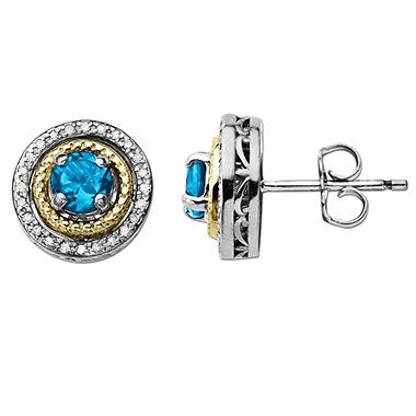 Licensed Blue Topaz and Diamond Accent Birthstone Earrings in Sterling Silver and 14K Yellow Gold