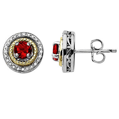 Created Ruby and Diamond Accent Birthstone Earrings in Sterling Silver and 14K Yellow Gold