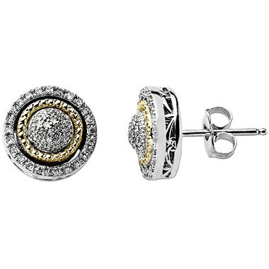 0.20 ct. t.w. Diamond Birthstone Earrings in Sterling Silver and 14K Yellow Gold