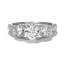 Premier Diamond Collection 2.12 CT. Round Three-Stone Engagement Ring with Pave Band in 18K White Gold (G, SI2)