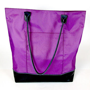 Wilsons Leather Carry All Leather Trimmed Foldable Nylon Tote - Purple