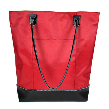 Wilsons Leather Carry All Leather Trimmed Foldable Nylon Tote - Red
