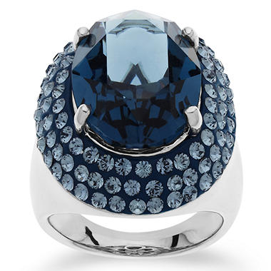 Swarovski Dark Blue Crystal Cocktail Ring in Sterling Silver