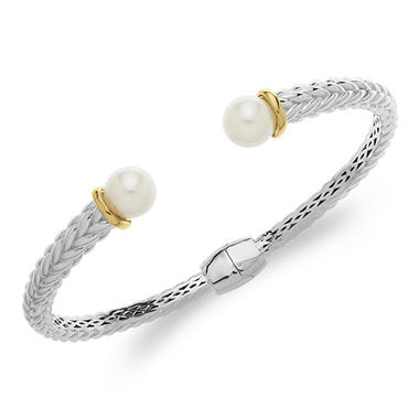 8mm Freshwater Pearl Bangle in Sterling Silver