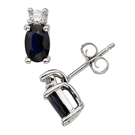 Oval Cut Sapphire and Diamond Stud Earrings in 14K White Gold