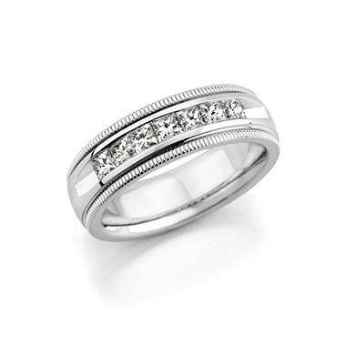 1 CT. T.W. Men's Diamond Wedding Band (Assorted Colors)