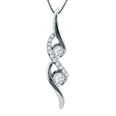 Sirena 025 ct tw 2 stone diamond pendant in 14k white gold h i sirena 025 ct tw 2 stone diamond pendant in 14k white gold h i aloadofball Choice Image
