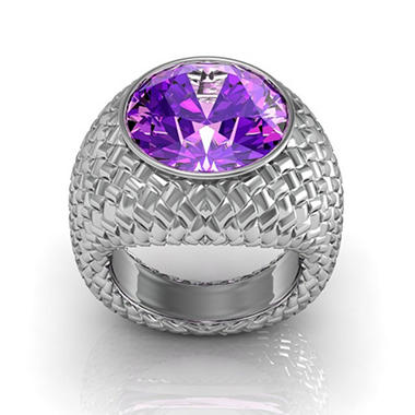 Sterling Silver and Amethyst Woven Ring
