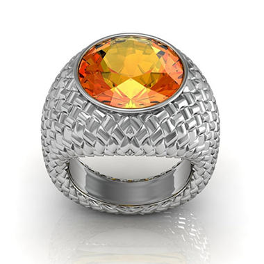 Sterling Silver and Citrine Woven Ring
