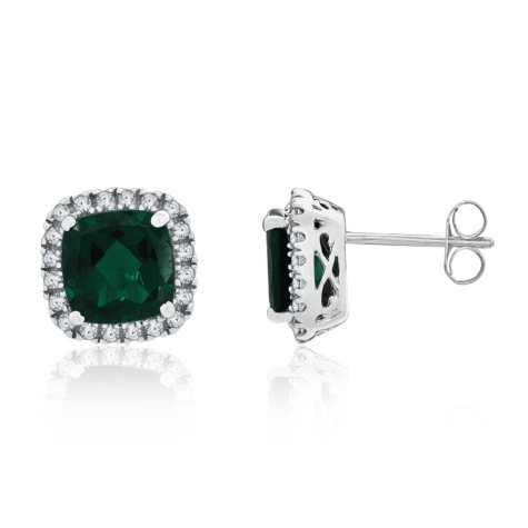 8mm Cushion Cut Lab Created Emerald and Created White Sapphire Earrings in 14K White Gold