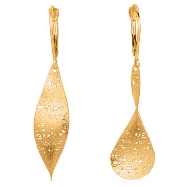 Textured Free-Form Dangle Earrings in 14K Yellow Gold