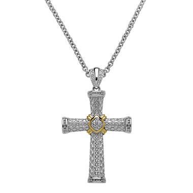 0.06 CT. T.W. Diamond Cross Pendant in Sterling Silver and 14K Yellow Gold (H-I, I1)