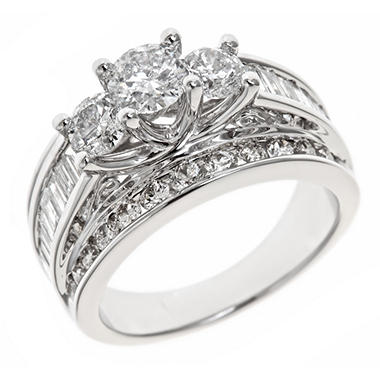 2.95 CT. T.W. Diamond Engagement Ring in 14K White Gold (H-I, I1)