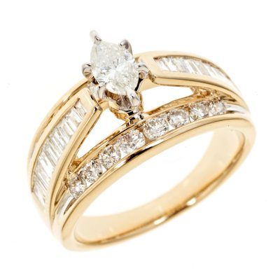 145 ct tw Marquee Diamond Engagement Ring in 14K Yellow Gold