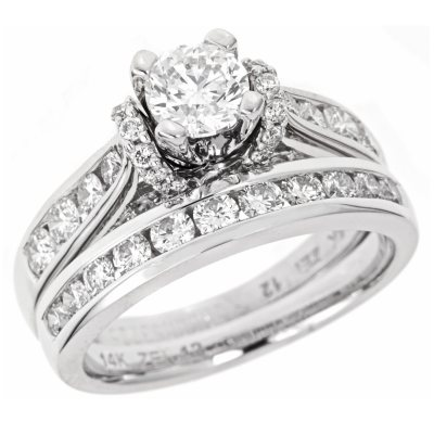 195 CT TW Diamond Engagement Set in 14K White Gold I I1