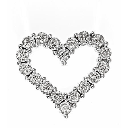 0.45 CT. T.W. TruMiracle Diamond Heart Pendant in 14K White Gold (H-I, I1)